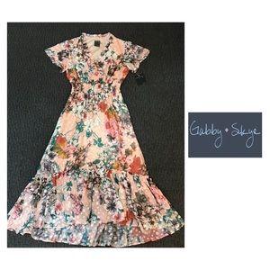 NWT Gabby Skye chiffon floral print midi dress